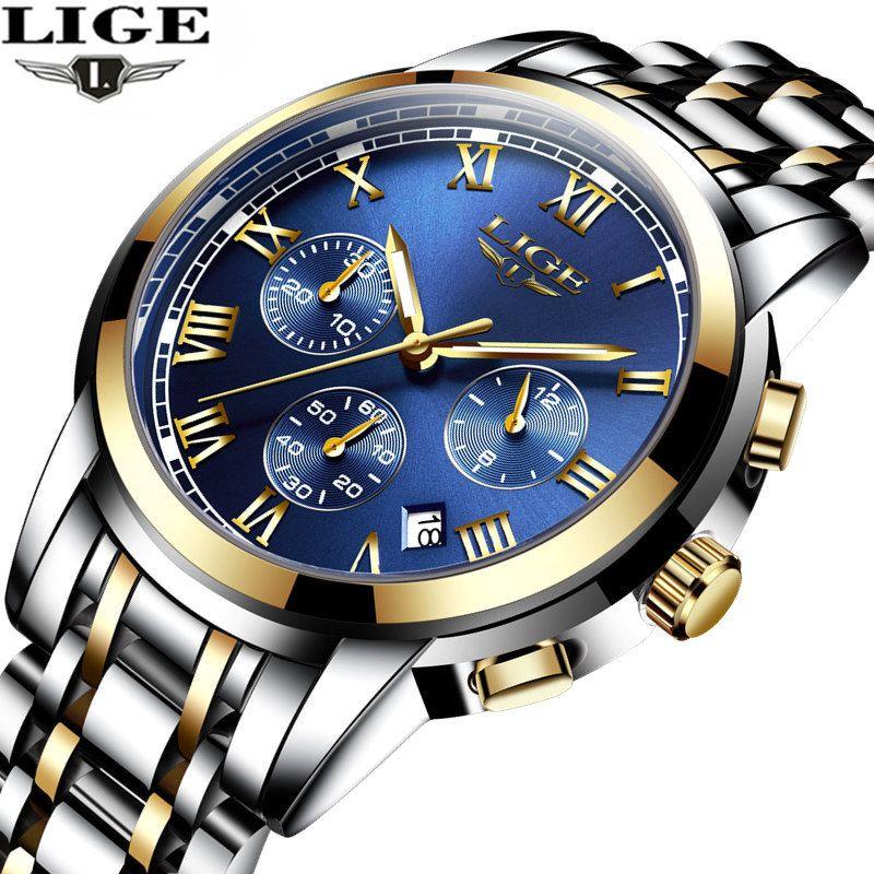 relogio masculino LIGE Men's Watches Top Brand Luxury Fashion Business Quartz Watch Men Sport Full Steel Waterproof Wristwatch