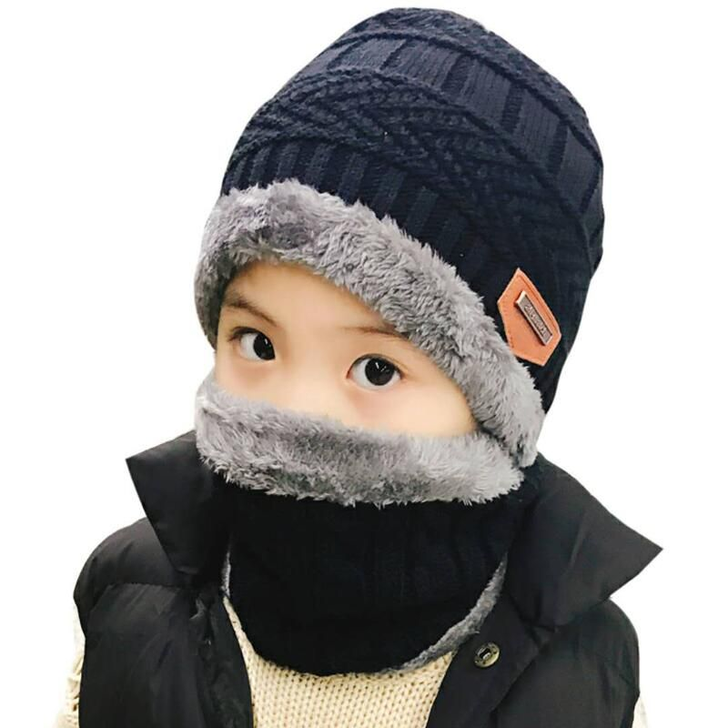 2018 Hot parent child 2pcs super warm Winter balaclava wool Beanies Knitted Hat and scarf for 3-12 years old girl boy hats