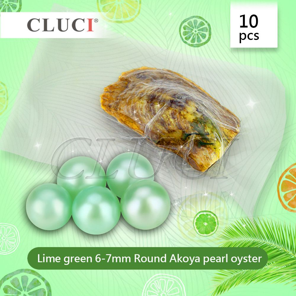 CLUCI 10pcs 6-7mm AAA grade round Akoya Lime Green pearl in oyster with vacuum-packing, free shipping