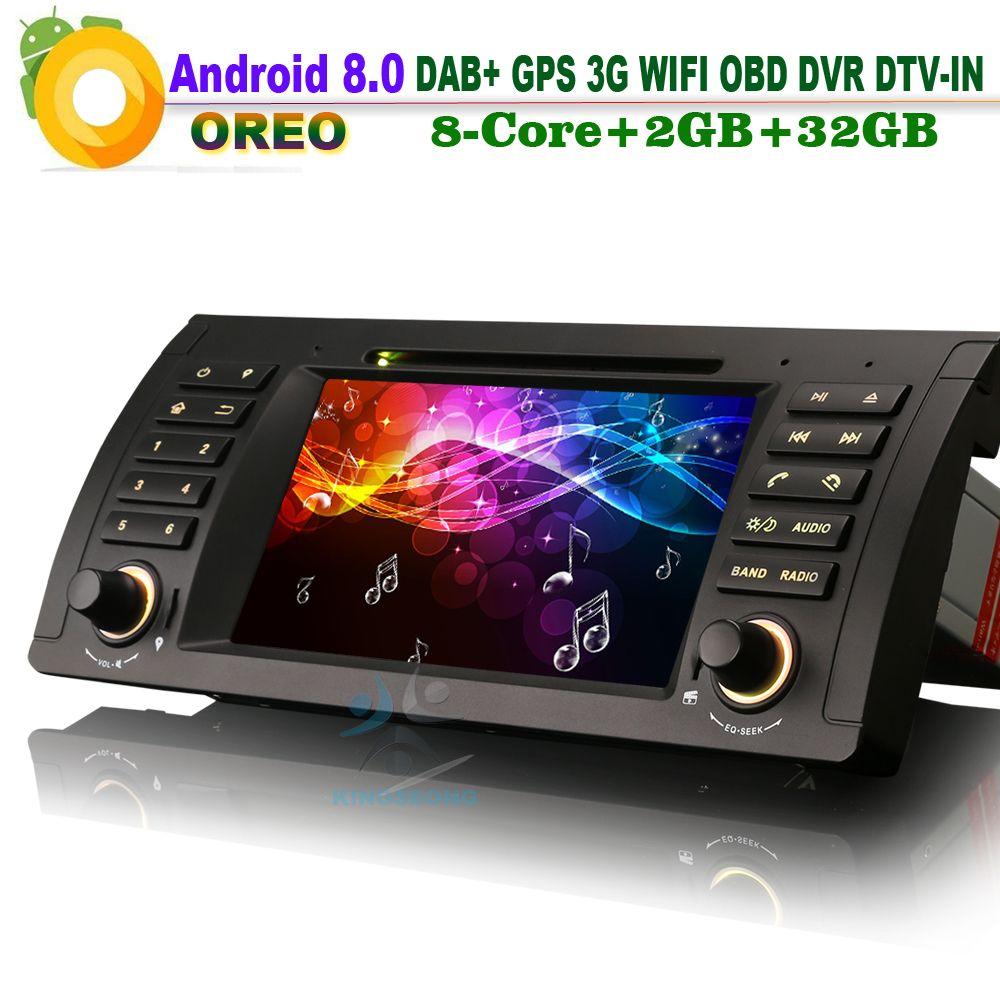 Android 8.0 DAB + WiFi 3g GPS Kopf Einheit DVR DVD Navi DTV-IN Auto Stereo CAM-IN OBD RDS BT Auto Radio für BMW E39 E53 X5 M5 Bluetooth