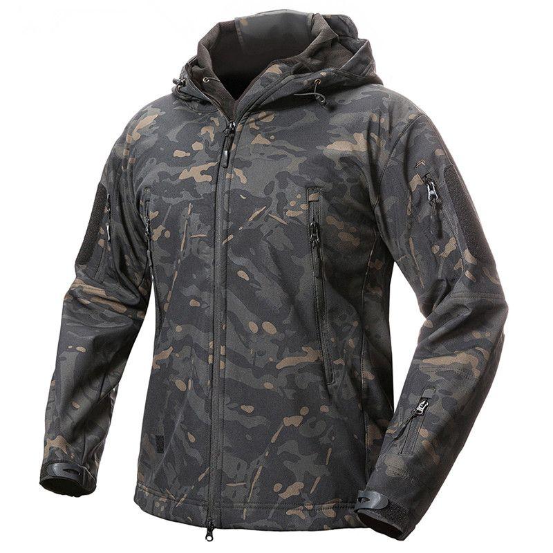 Men Winter Fleece Liner Waterproof Jacket Outdoor Sport Camping Skiing Warm Tactical Military TAD V5 Camouflage Hooded Tops Coat