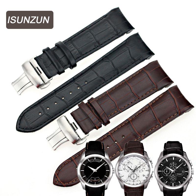 ISUNZUN montre pour hommes bandes pour Tissot T035 1853 bracelet de montre en cuir véritable T035627A marque bracelets de montre 22 MM hommes bracelet de montre