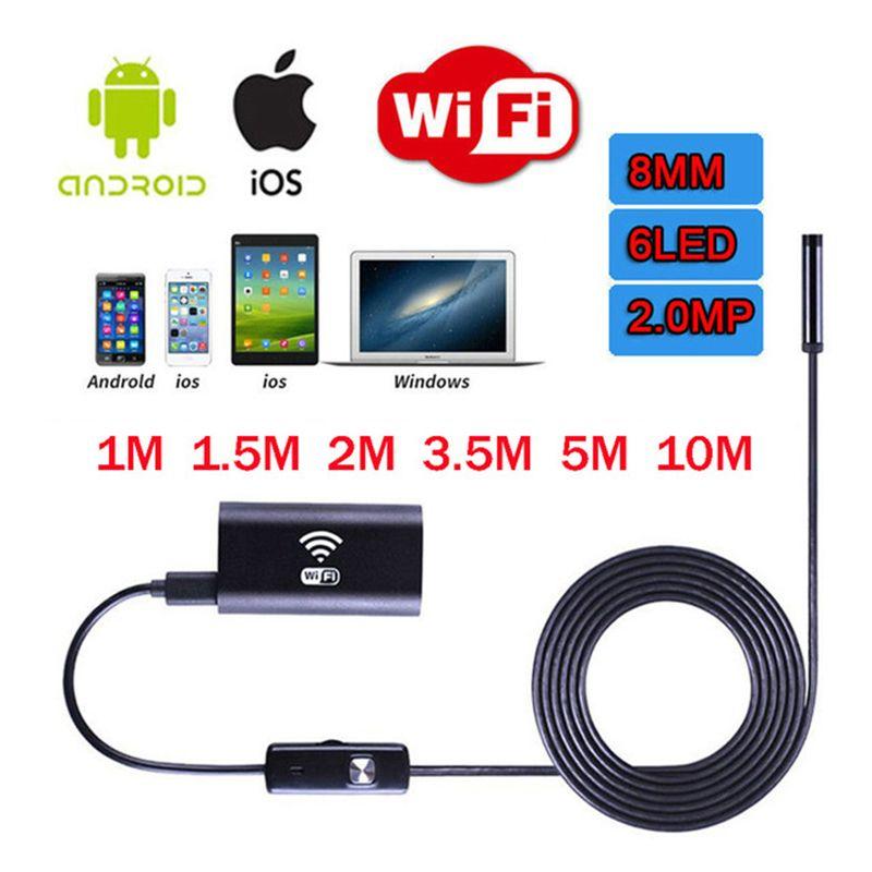 JINGLESZCN WIFI Endoscope USB Camera 8mm Borescope Inspection Endoskop 10m 2m 3.5m 5m HD Snake Camera Endoscopic Android Windows