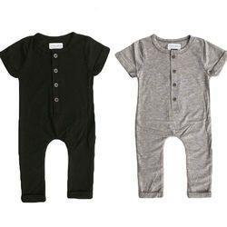Nouveau-Né Enfant Bébé Garçon Fille Vêtements D'été Printemps Barboteuse Combishort Casual Vêtements À Manches Courtes Solide Tenues 0-24 M