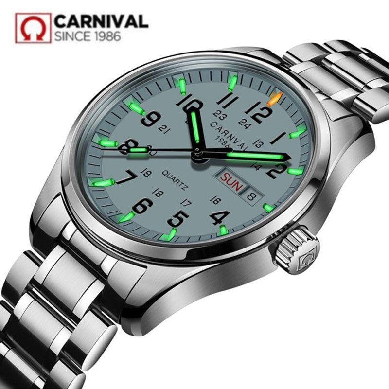 Carnival Tritium Light men Watch Quartz Double calendar Date Tritium Luminous Waterproof 200M Military diving Watches sapphire