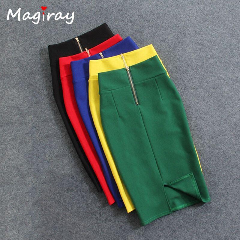 Magiray High Waist Elastic Pencil Skirt Female Bodycon Skirts Womens Summer 2017 Knee Length Back Split Ladies Office Saia C571