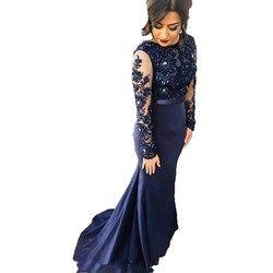 Navy Blue High Neck Spitze Mermaid Party Kleider 2018 Lange Ärmeln Applizierte Party Kleider Abendkleider Lange Prom Dreses