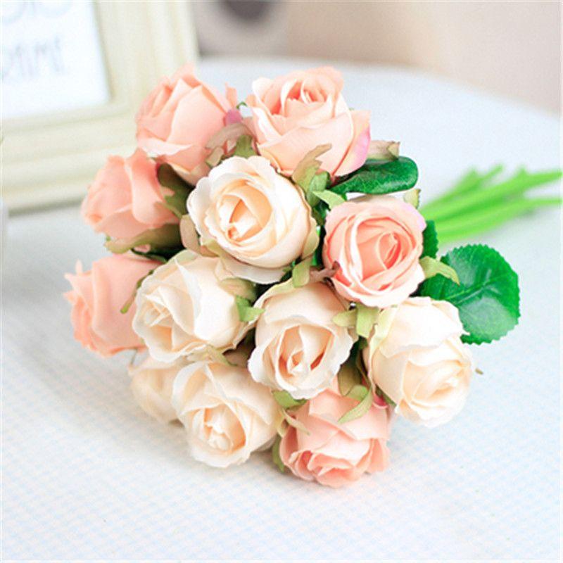 4 Colors 12PCS/set 25x16cm Artificial Rose Flowers Wedding Bride Bouquet Silk Flowers DIY Home Decor Rose Flowers