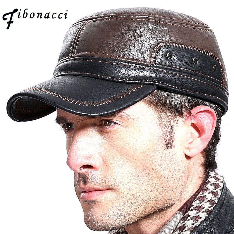 Фибоначчи Высокое качество среднего возраста мужская бейсболка Кожа взрослых лоскутное Регулируемый FlatCap осенние зимние шапки