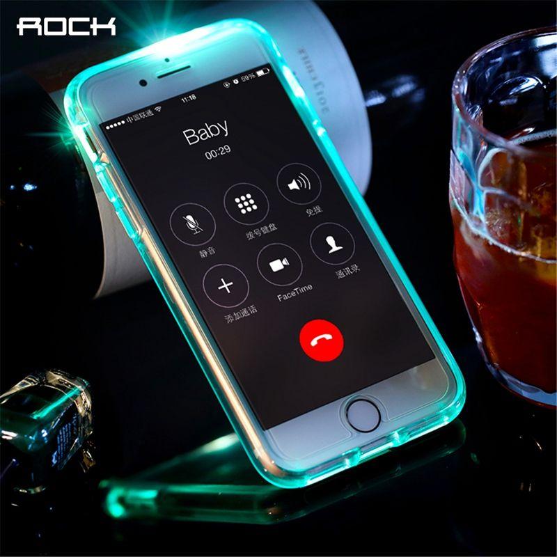 Led Flash Cas pour iPhone 6 6 s plus, ROCK Lumière Flash Appelant avis Tube série téléphone cas pour iPhone 6 6 s plus la couverture