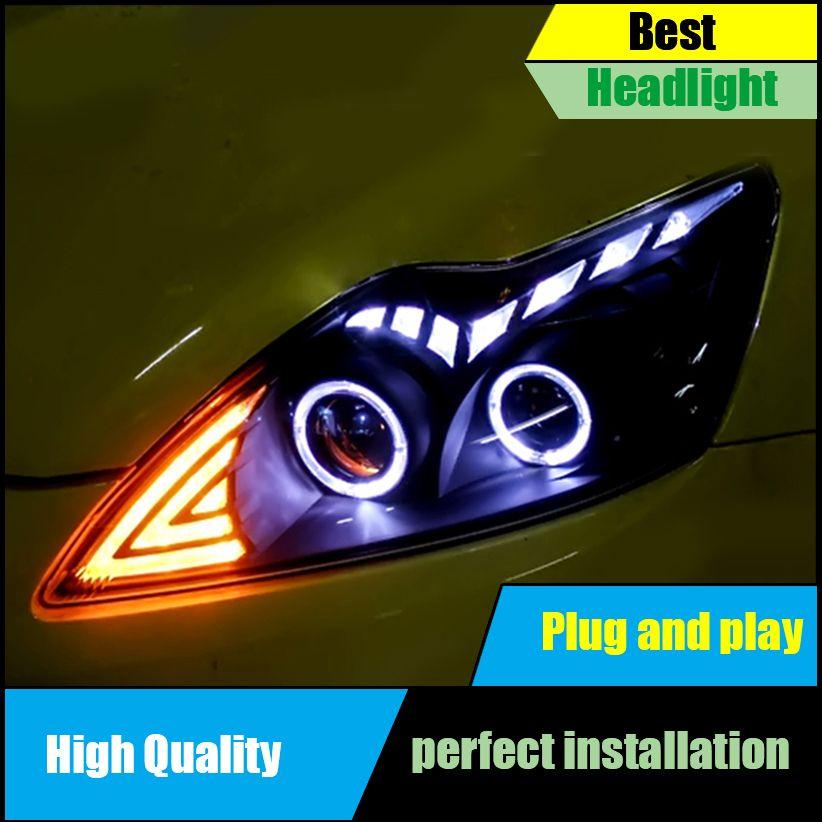 Car Head Lamp Case For Ford Focus MK2 Headlights 2009-2011 LED Headlight Double Angel Eyes DRL Bi-Xenon Lens High Low Beam