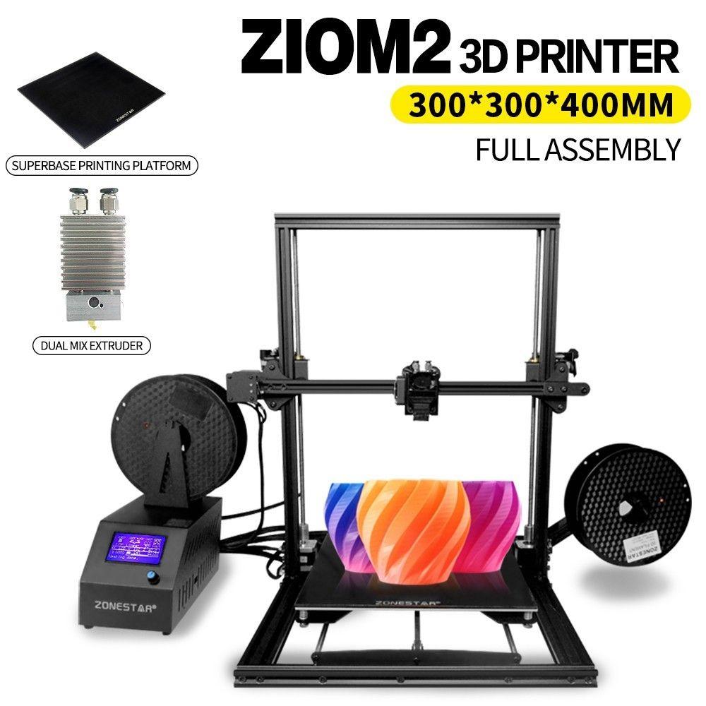 ZONESTAR Z10 Z10M2 3d Printer 300*300*400mm Large Printing Size Superbase Single or Mix Extruder Fully Assembled