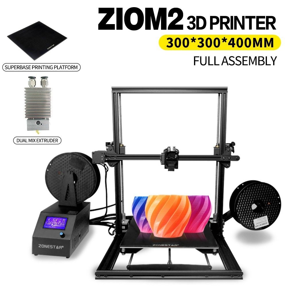 ZONESTAR Z10 Z10M2 3d Printer 300*300*400mm Large Printing Size Superbase Single or Mix Extruder Fully Assembled