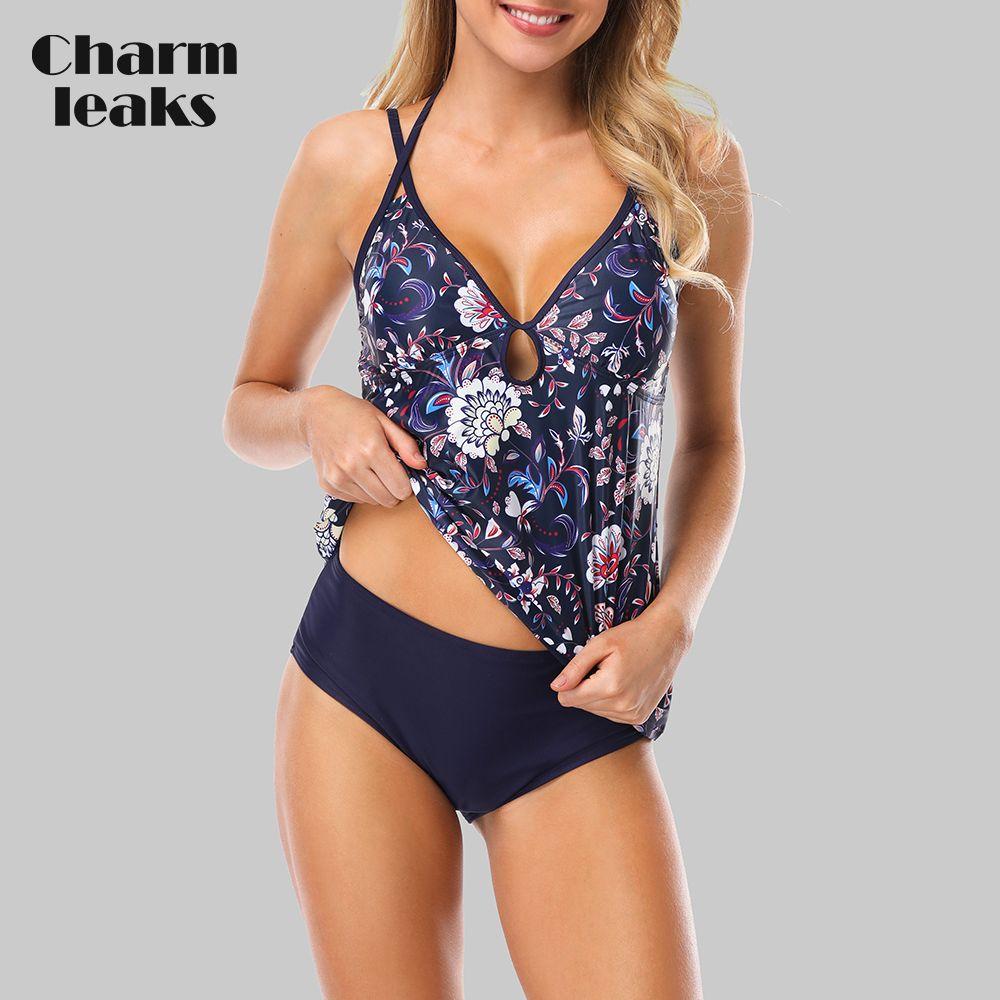 Ensemble Tankini femme charmbanks deux pièces maillot de bain Vintage Floral maillot de bain imprimé à bretelles bandé Sexy Bikini maillot de bain