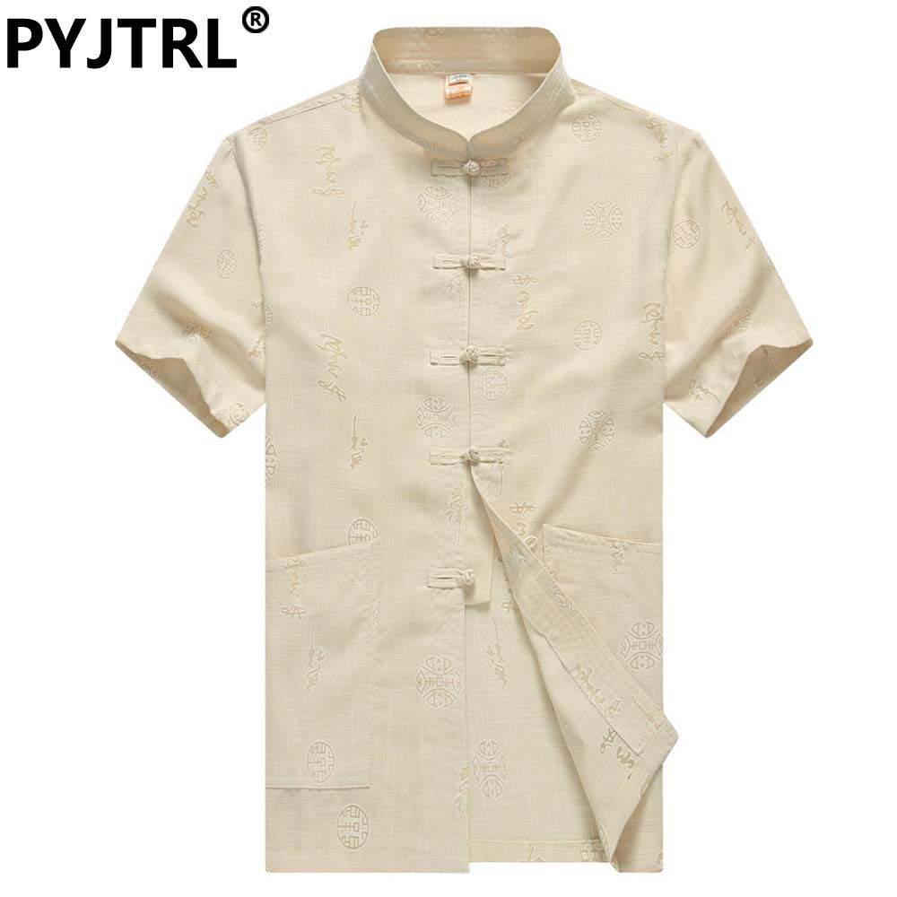 Men's Summer Linen Short-sleeved Costume Chinese Style Arts Tai Mens Clothing