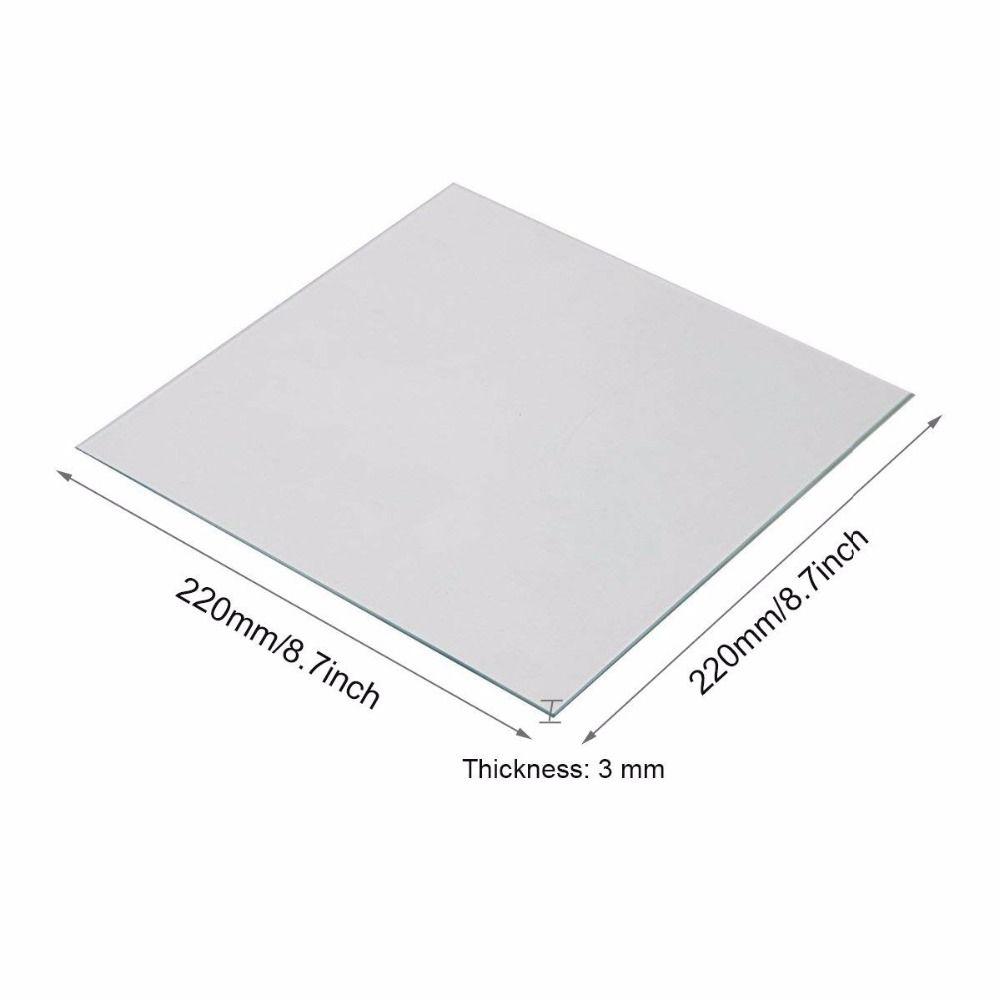 Clean and Clear Borosilicate Glass Heat Bed 220x220x3mm for MK2/MK2A ANET A8 A6 Mendel Reprap 3D Printer