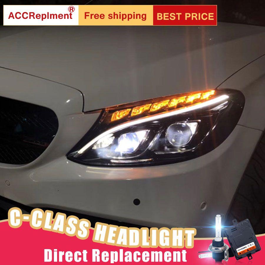 2Pcs LED Scheinwerfer Für Benz C-Klasse W205 2015-2018 led auto lichter Engel augen ALLE LED KIT Nebel lichter LED Tagfahrlicht