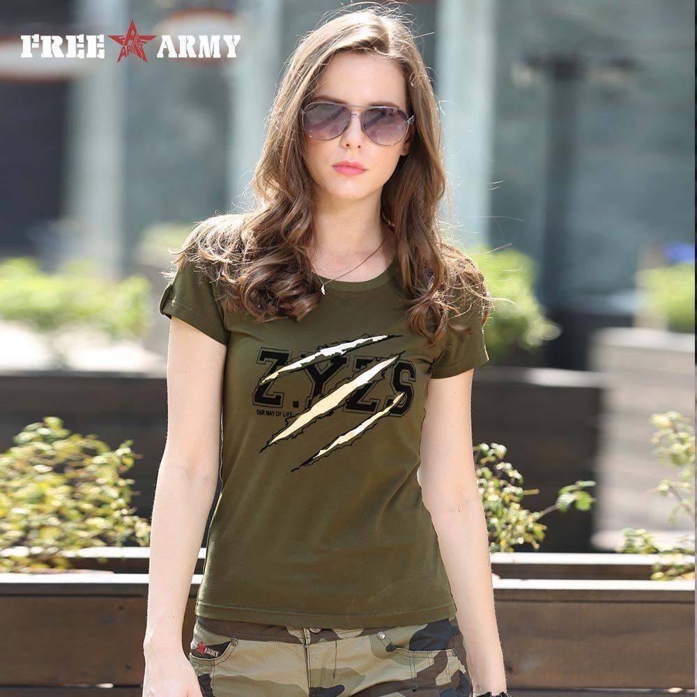 Dames De Mode d'été T-shirts Tops Femmes Armée Vert O Cou Coton Marque T-Shirt Coton Plus La Taille Femmes Vêtements Gs-8557A