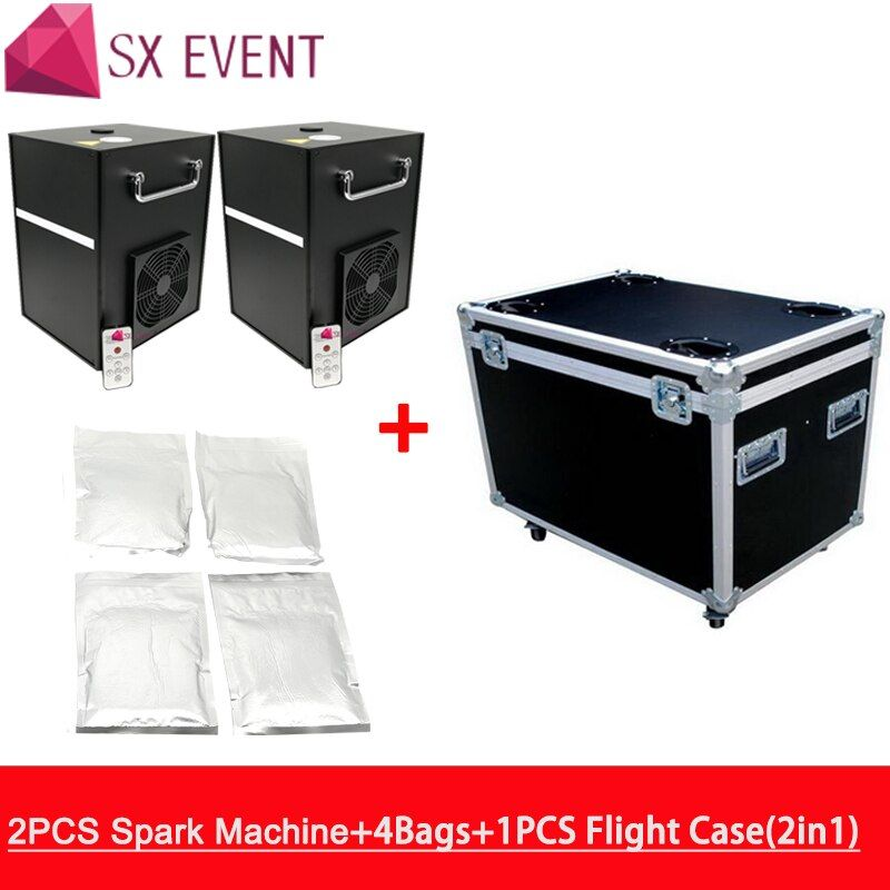 Spark firework fountain 5m height indoor safety cold pyro factory wholesale 2pcs machine with flycase and 4 bags powder