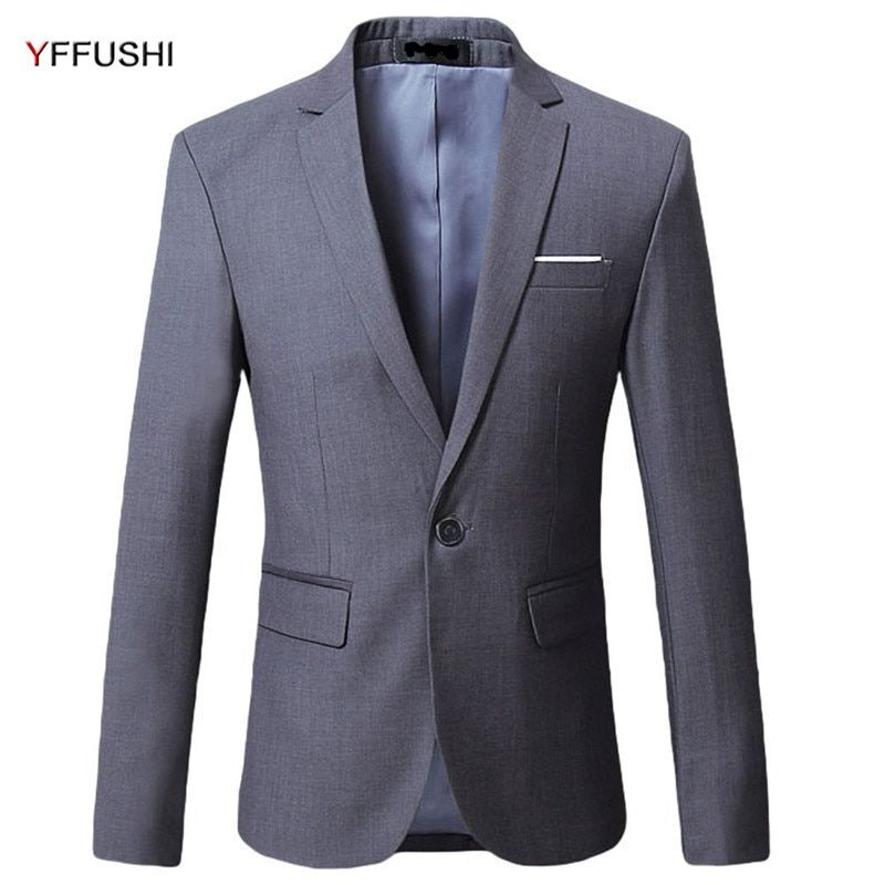 YFFUSHI New Men Suit Jacket Grey Red Black Navy White Jacket Beat Men's Blazer Masculino Casual Style Fashion Plus Size 6XL
