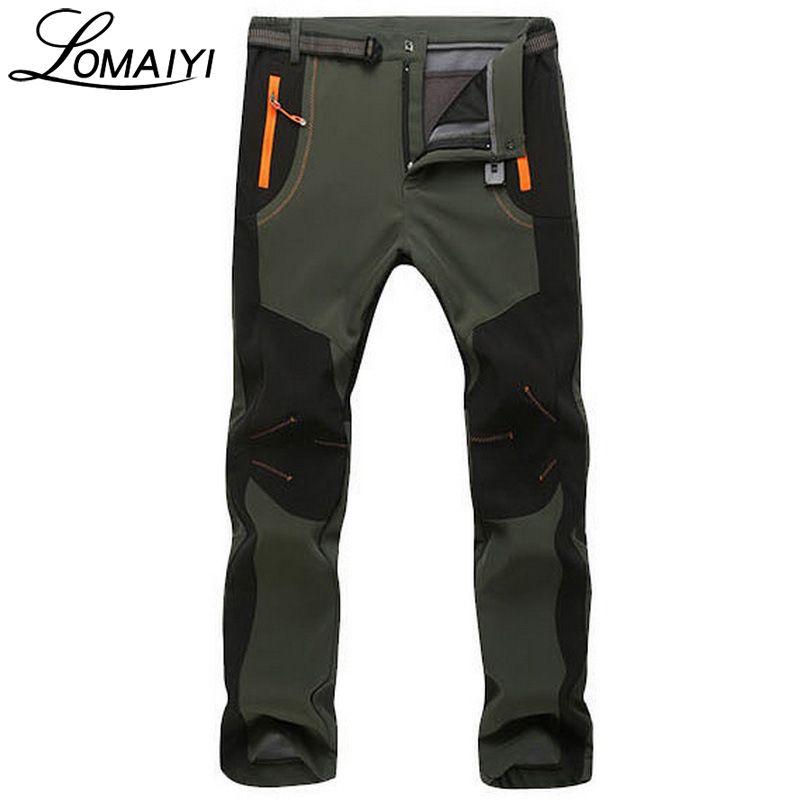 LOMAIYI Men's Winter Stretch Casual Pants Men Warm Fleece Lining Sweatpants Shark Skin Trousers Mens Gray Softshell Pants,AM110