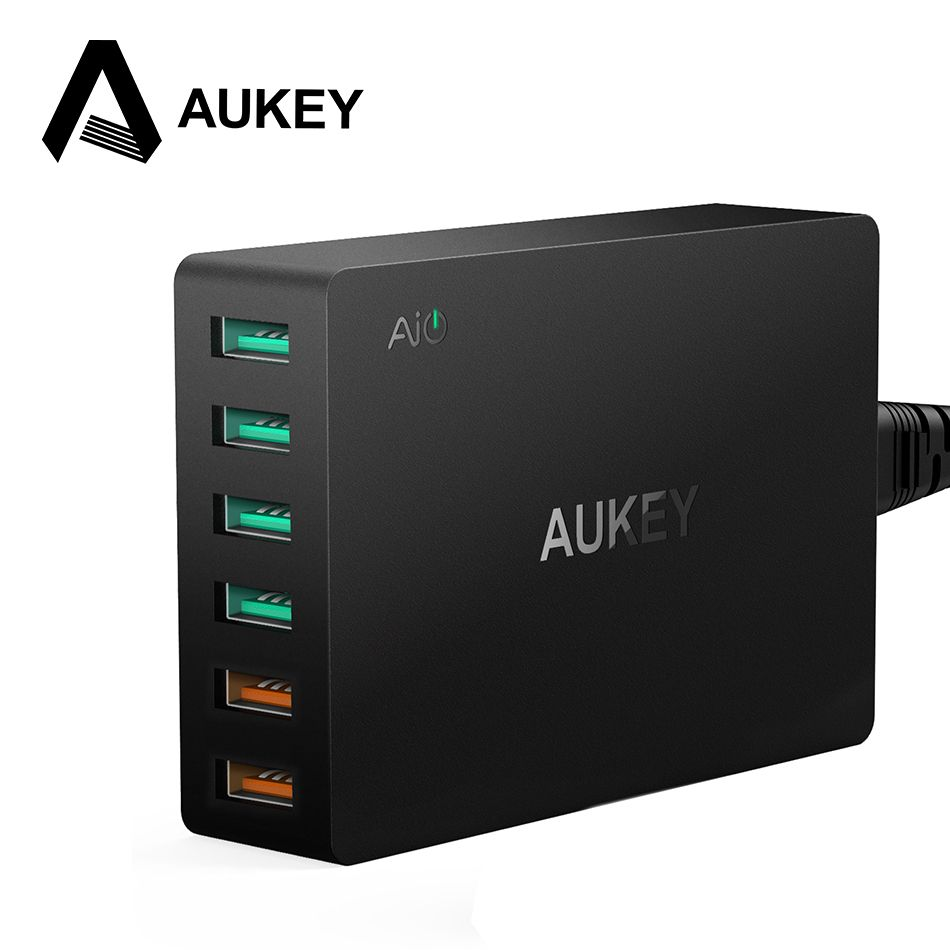AUKEY Multi USB Charger Quick Charge 3.0 6-Port USB Fast Turbo Wall Charger for Samsung Galaxy s8 LG iPhone X 8 7 iPad Xiaomi PC