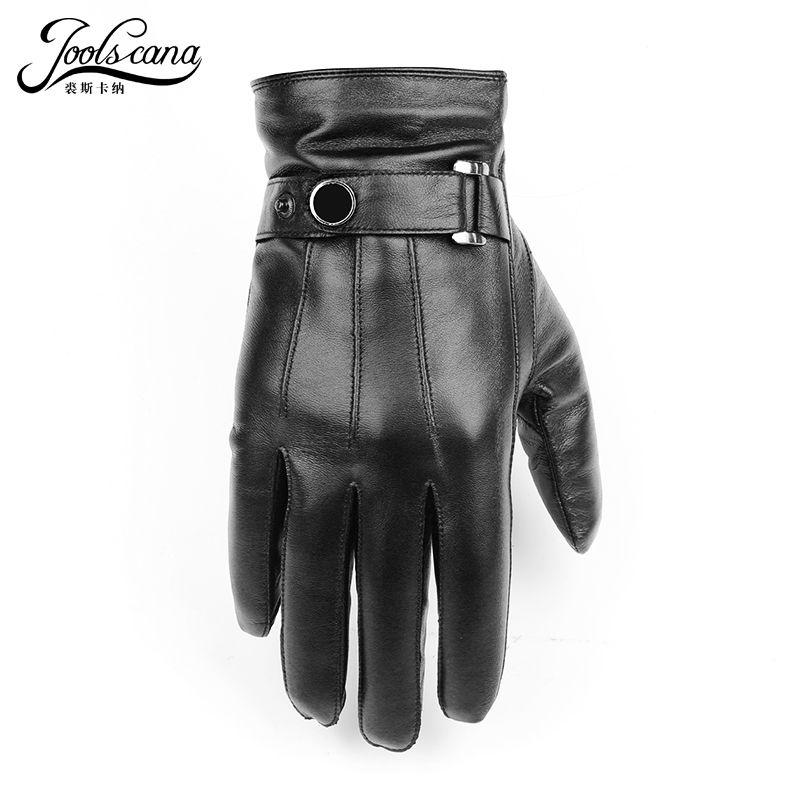 JOOLSCANA gants en cuir naturel hommes d'hiver Sensorielle tactique gants made Italien mode en peau de mouton poignet écran tactile lecteur