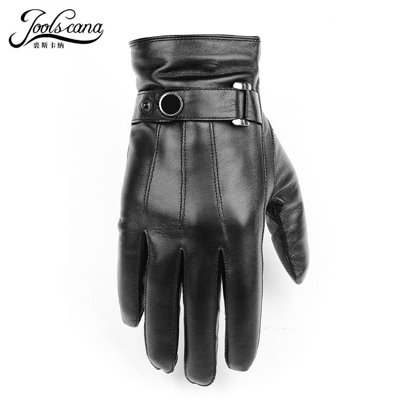 JOOLSCANA gloves natural leather men winter Sensory tactical gloves made of Italian sheepskin fashion wrist <font><b>touch</b></font> screen drive