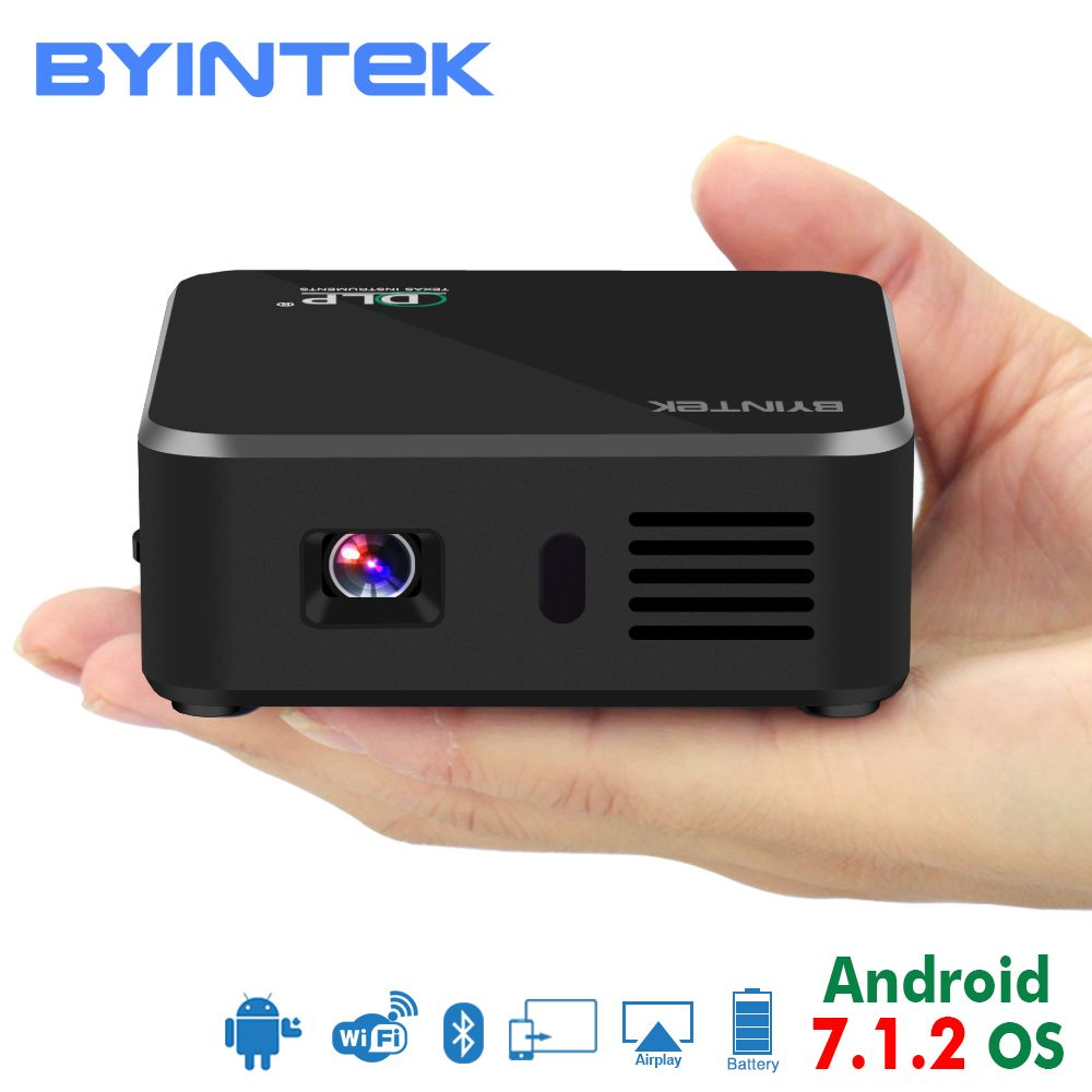 BYINTEK UFO D9 Portable Pocket Pico Smart Android 7.1.2 OS Video Wifi LED 1080P DLP Mini HD Projector For Car Smartphone Iphone