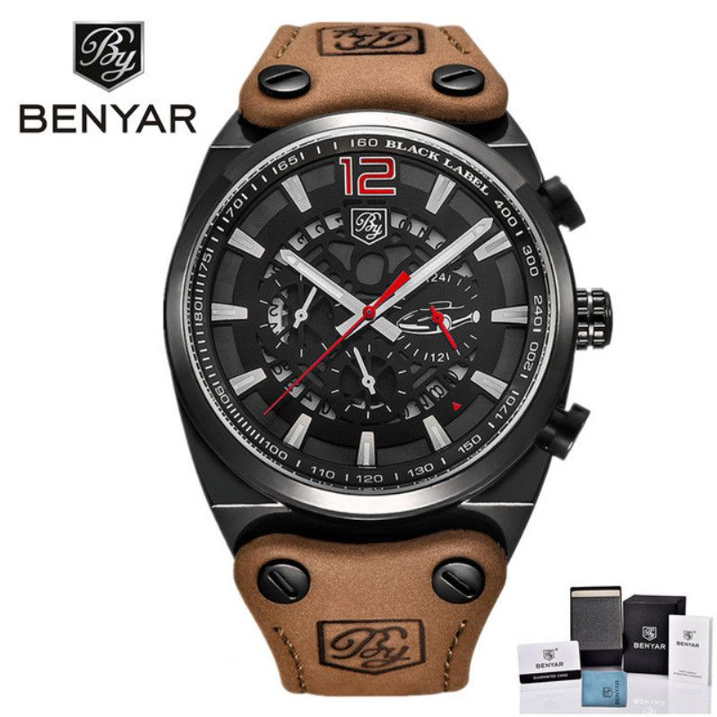 BENYAR Brand Luxury Chronograph Sports Watches Men Fashion Military Waterproof Quartz Watch Relogio Masculino Meski Zegarek