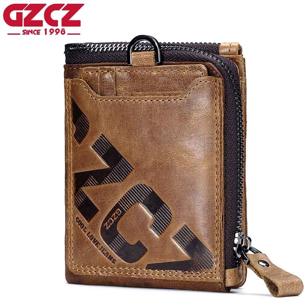 Gzcz Пояса из натуральной кожи Для мужчин бумажник моды портмоне визитница маленький кошелек Для мужчин portomonee мужской клатч на молнии зажим д...