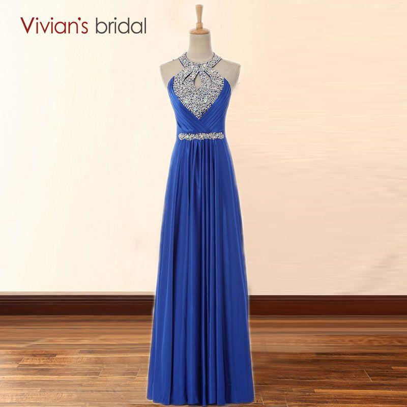 Sexy A-Line Halter Satin Red Blue Prom Dresses Beaded with Crystal Long Evening Party Dress vestido de festa longo