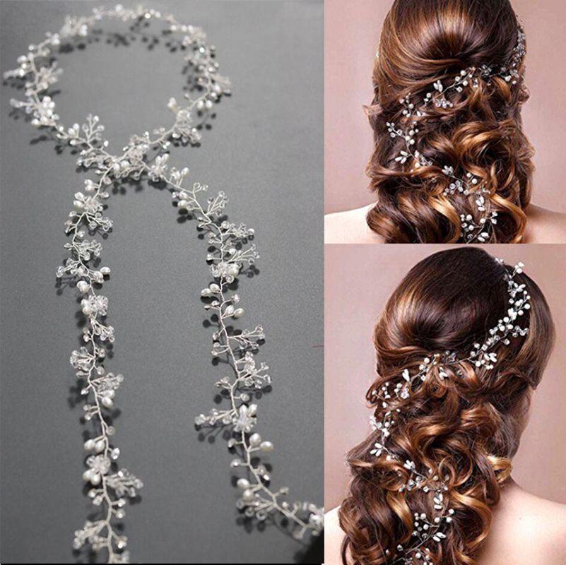Handmade Luxury Flower Pearl Crystal Long Bridal Hairbands Crown Headpiece Headband Wedding Hair Accessories Bride Tiara Jewelry