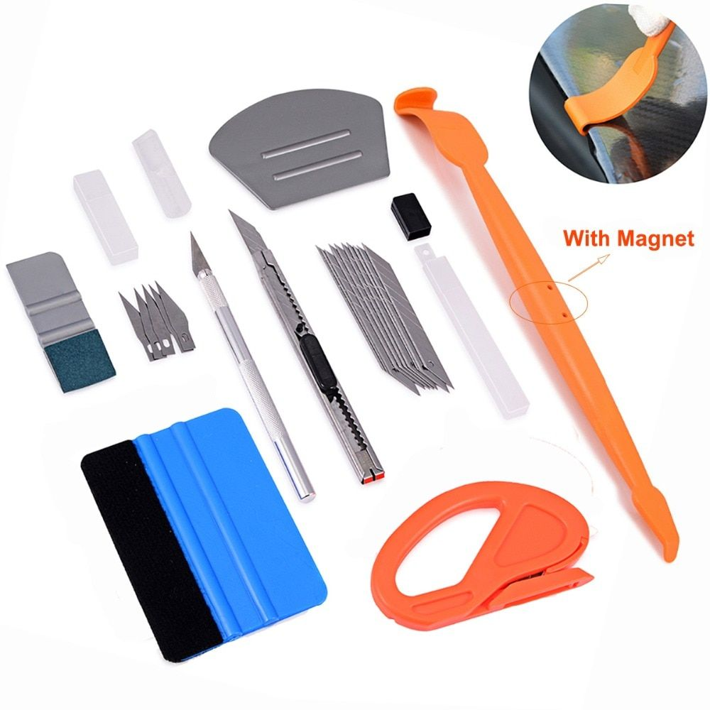 EHDIS Vinyl Car Wrap Carbon Fiber Sticker Magnetic Squeegee Scraper Foil Film Cutter Knife Kit Wrapping Tools Car Accessories
