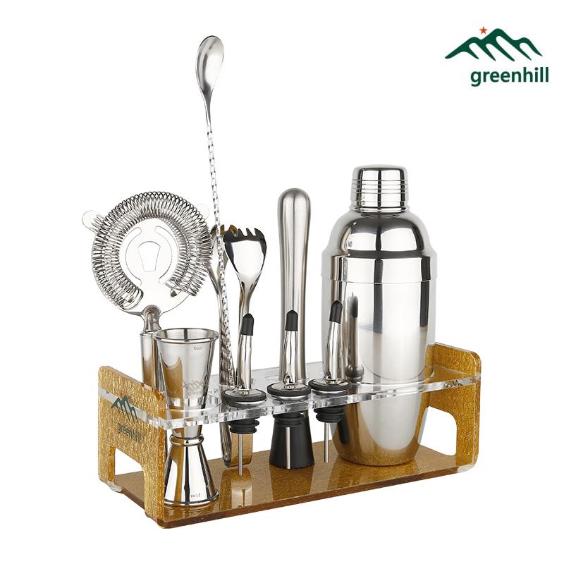 Ensemble d'outils de Bar Premium Greenhill/10 pièces Kit de secoueur de Cocktail pour ustensiles de Bar (18/8), ddler, gigue, cuillère, verseur, pince à glace et support