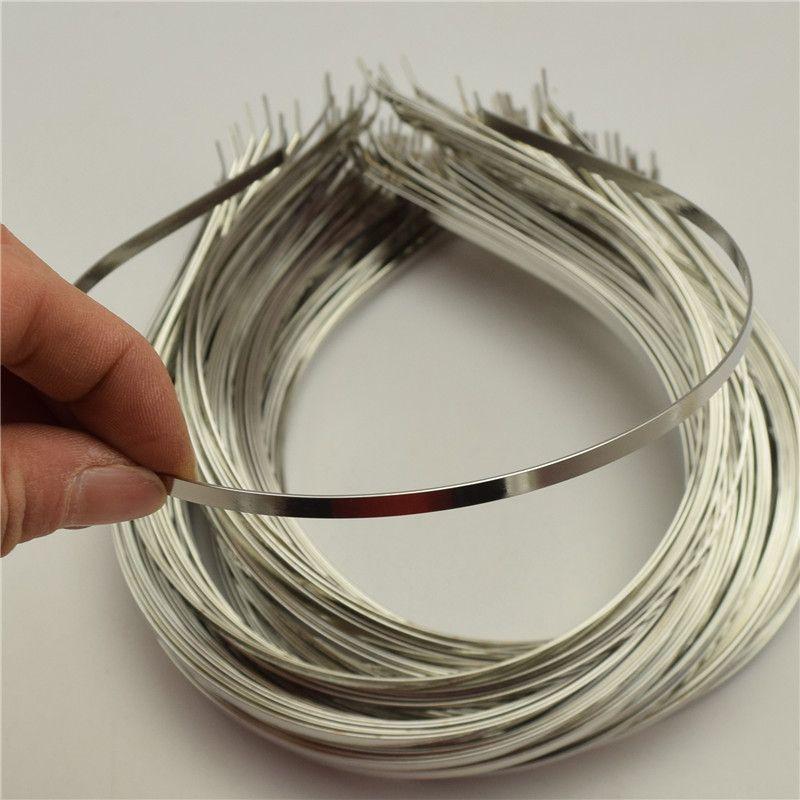 50pcs 4mm alice bands  wide METAL HEADBAND Silver Color Plain Lady  Hair Bands Headbands No Teeth DIY