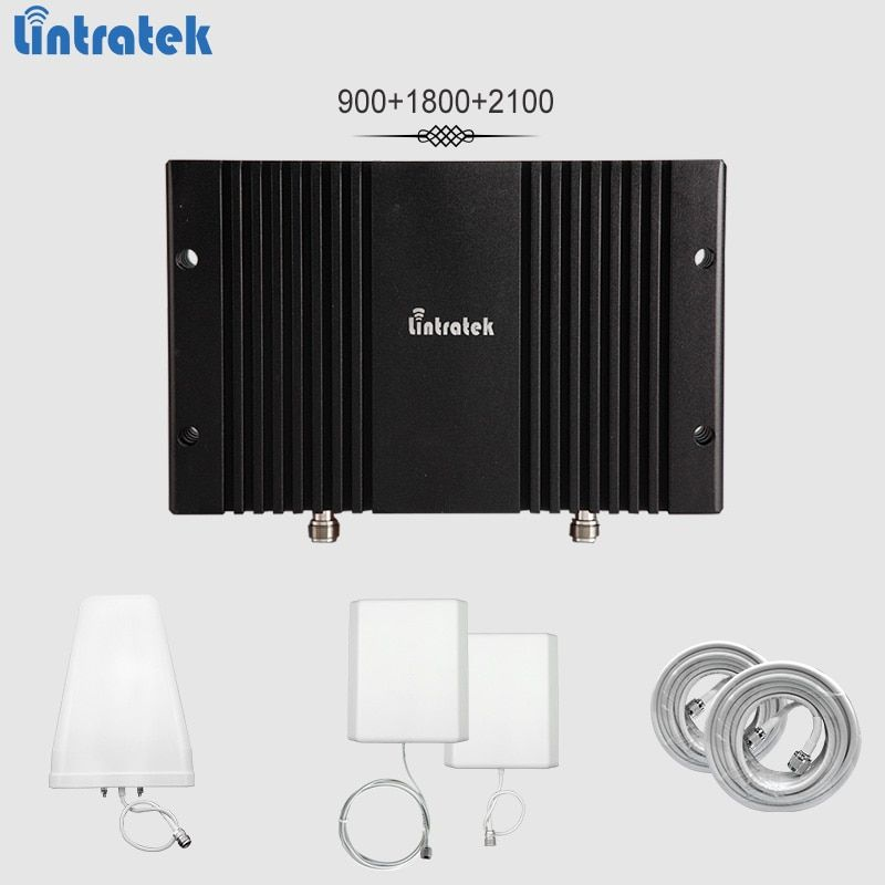 Lintratek signal booster 2G 3G 4G 900 1800 2100Mhz Band3 Band1 repeater GSM 3G 4G LTE 65dBi AGC&MGC mobile amplifier full kit#65