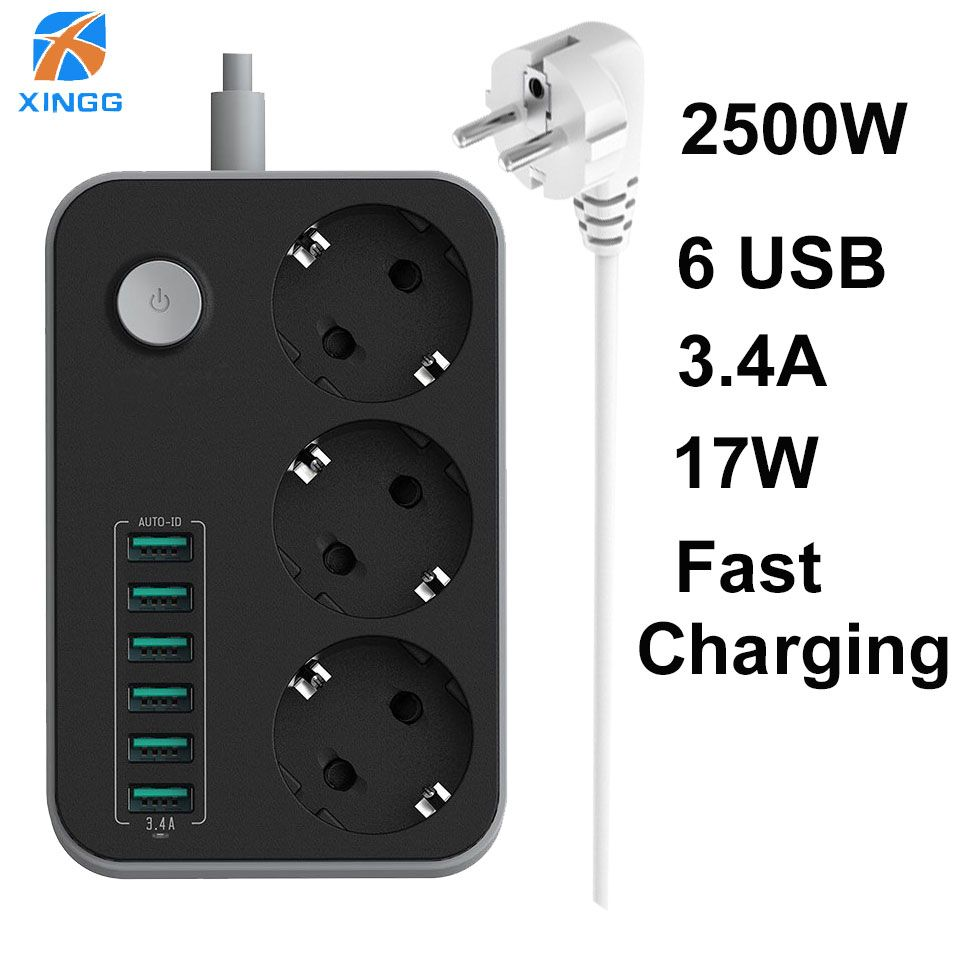XINGG 3 Gang Eu Smart USB Power Strip With 3.4A Charging Ports Multi Power Socket Europe PowerCube 1.6M Extension Cord With usb