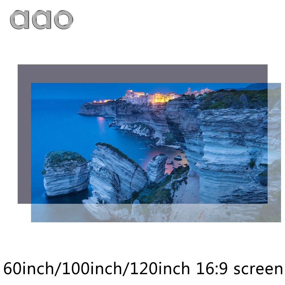 AAO Reflective Fabric Projector Screen 60 100 120 133 Inch 16:9 Proyector Screen for XGIMI H1 JMGO J6S E8 Projetor Home Thearer