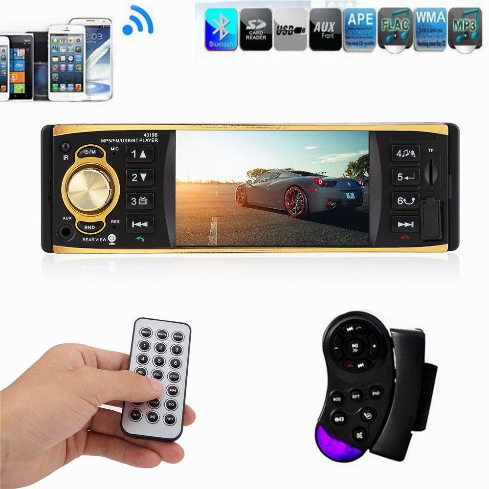 1 Din Car Radio 4.1 Inch  Stereo Player MP3 MP5 Car Audio Player Bluetooth Steering Wheel Remote Control USB AUX FM