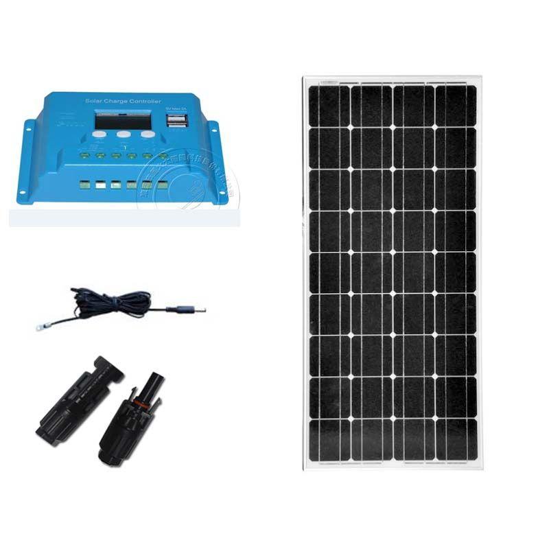 Kit Panel Solar 12 v 100 w Solar Controller 12 v/24 v 10A 12 v Batterie Ladegerät Auto caravan Camp Cargador Solar