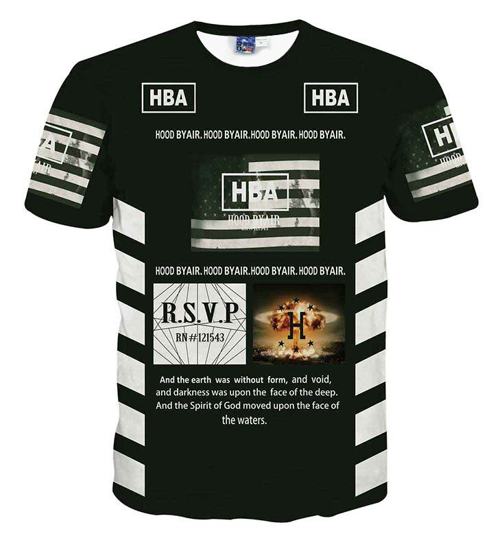 hot sale hood by air hba t shirt 69 printed short-sleeve T-shirt 3d men's clothing t shirt hiphop t-shirts camisetas 3d hombre