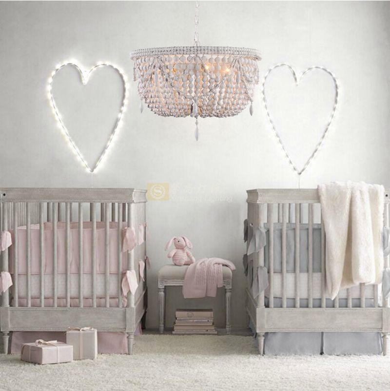 Phube Lighting Retro Chandeliers Wood Bead Chandelier Light children's room Bedroom Princess room Chandelier Home Lighting