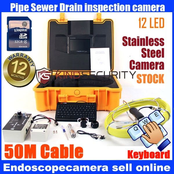 23mm Handheld Video Inspection Endoscope Snake Scope Pipe Camera 50M with keyboard recorder with DVR recorder