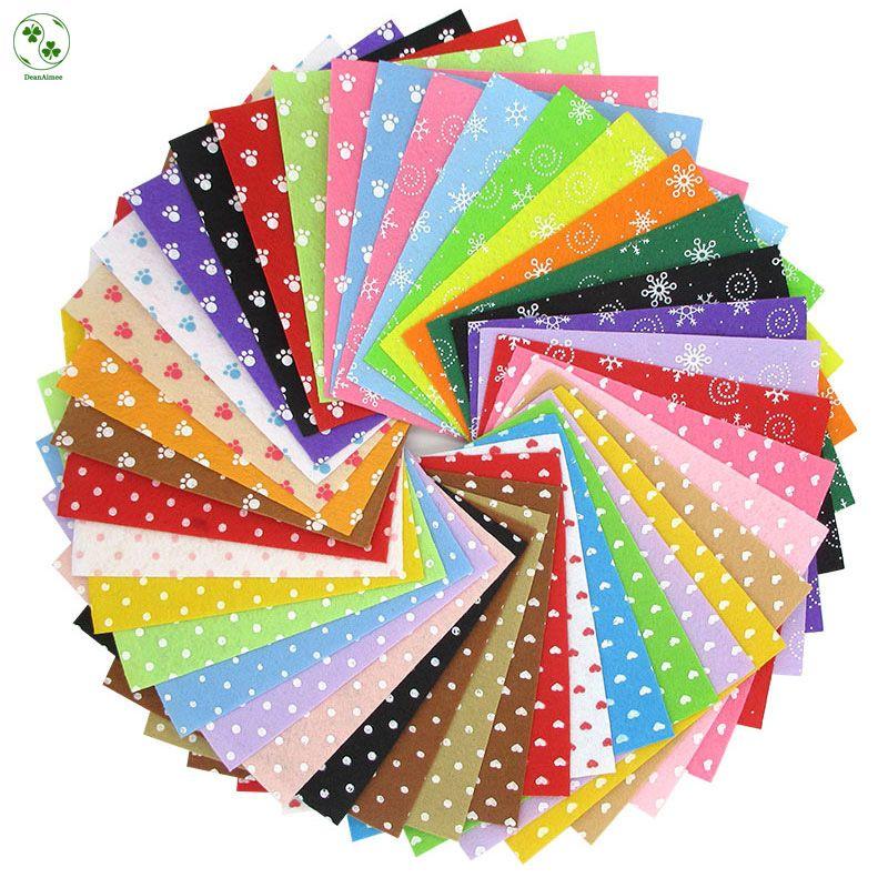 40 Pcs/Lot motif tissu coeur point feutre tissu non tissé bricolage à la main couture tissu feutre mélangé 4 Styles 15X15 CM