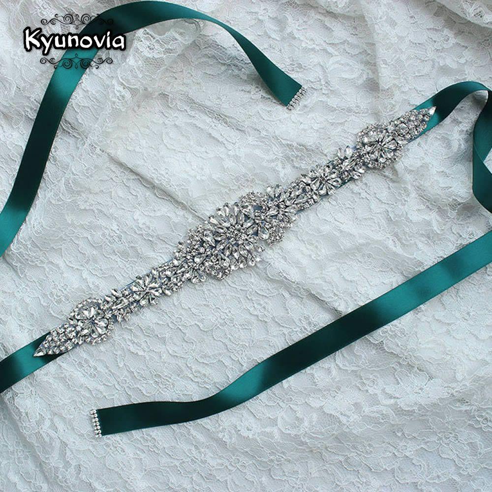 Kyunovia Cinturones de Novia de Raso de Cristal Rhinestone Correa Del Vestido de Boda Accesorios de La Boda Nupcial de La Cinta Sash Cinturón FB19
