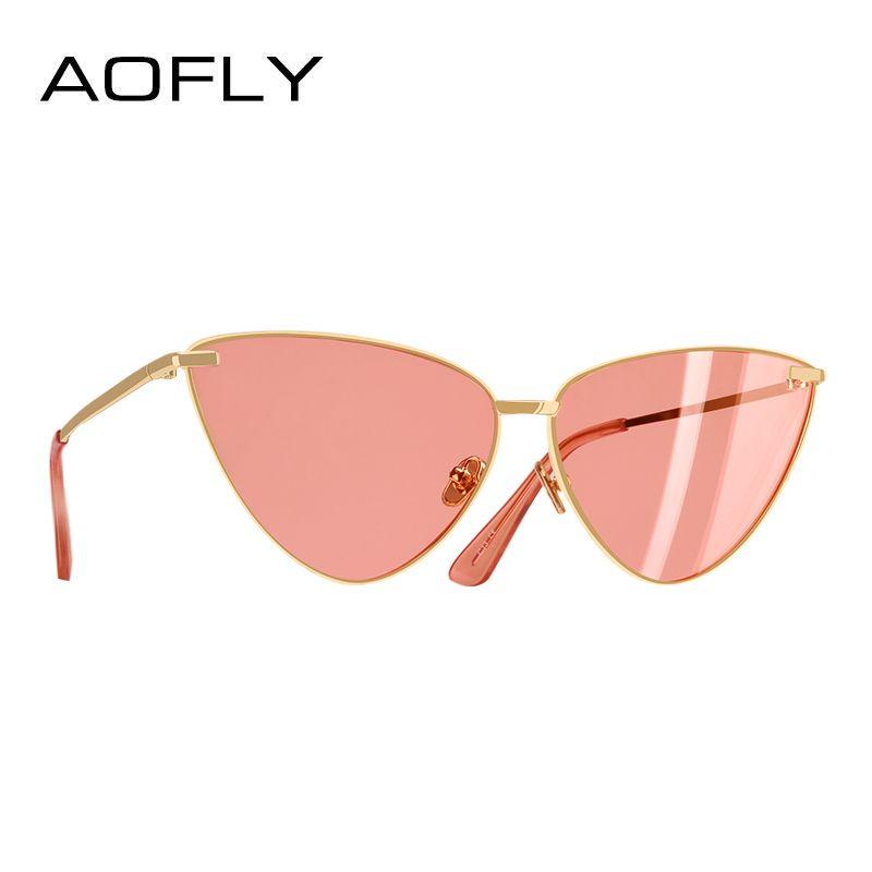 AOFLY MARKE DESIGN Sexy Damen Cat Eye Sonnenbrille Mode Metall Sonnenbrille Frauen Metall Rahmen UV400 Brille A99