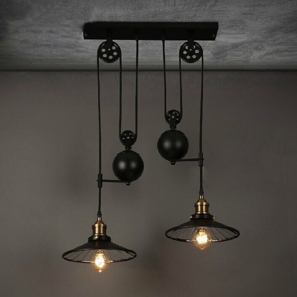 Loft Vintage Retro Wrought Iron Black Chandelier Adjustable Pulley Industrial Lamps E27 Edison Pendant 2Lamp Home Light Fixtures