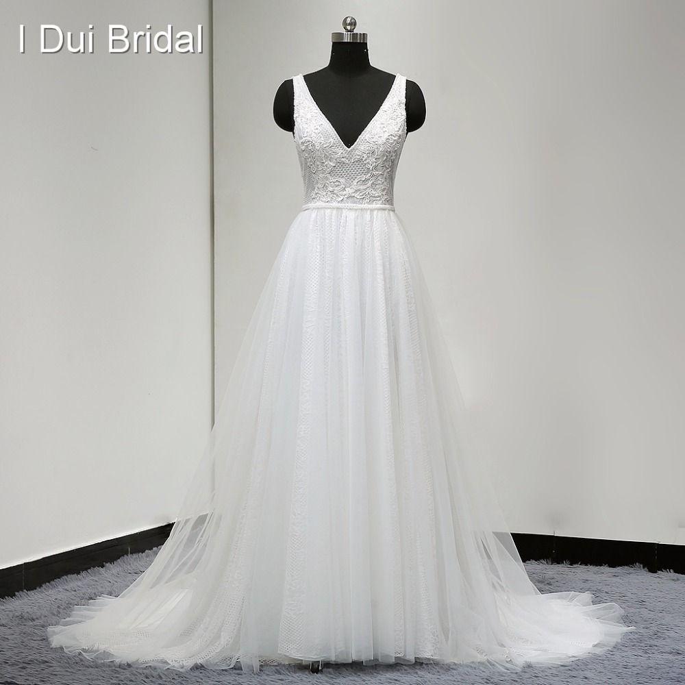 Boho Wedding Dresses Vestido De Noiva Real Photo V Neck A line Sexy Bohemia Beach ELS0001 Drop Ship Bridal Gown