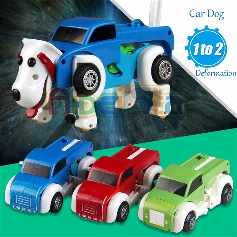 Aibei Star: 2018 14CM Cool automatique horloge véhicule transformer voiture chien déformation liquidation jouet mignon pour enfants enfants garçon fille